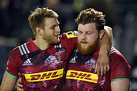 Henry Cheeseman and Josh McNulty of Harlequins A after the match. Aviva A-League match, between Bath United and Harlequins A on March 26, 2018 at the Recreation Ground in Bath, England. Photo by: Patrick Khachfe / Onside Images