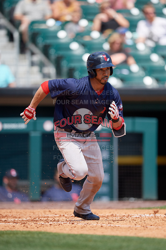 Pawtucket Red Sox second baseman Ivan De Jesus Jr. (13) runs to first base during a game against the Buffalo Bisons on June 28, 2018 at Coca-Cola Field in Buffalo, New York.  Buffalo defeated Pawtucket 8-1.  (Mike Janes/Four Seam Images)
