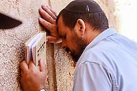 Israel,Jerusalem, orhodox judes man prays at the Western Wall