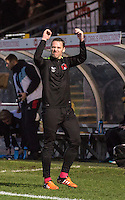 Player Manager Kevin Nolan punches the air following his win first game in charge during the Sky Bet League 2 match between Wycombe Wanderers and Leyton Orient at Adams Park, High Wycombe, England on 23 January 2016. Photo by Massimo Martino / PRiME Media Images.