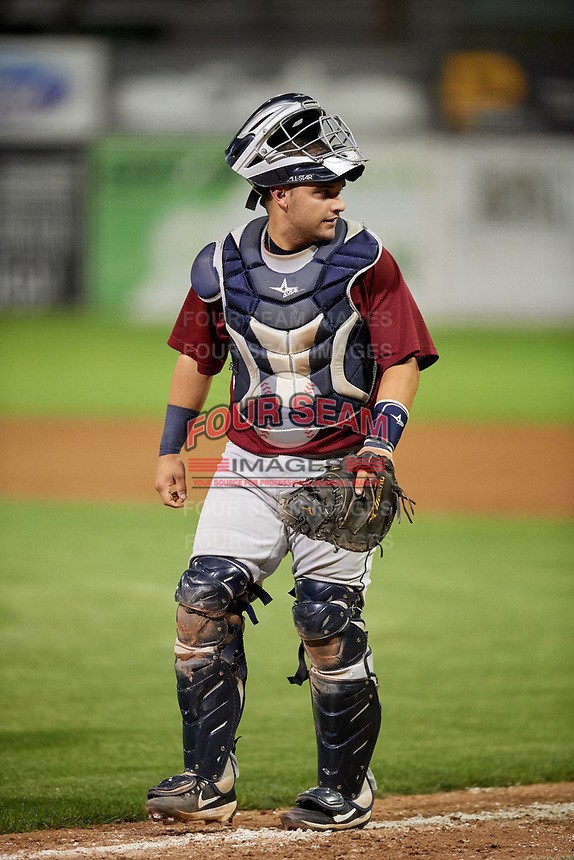 Mahoning Valley Scrappers catcher Michael Rivera (29) during a game against the Batavia Muckdogs on August 29, 2017 at Dwyer Stadium in Batavia, New York.  Batavia defeated Mahoning Valley 2-0.  (Mike Janes/Four Seam Images)