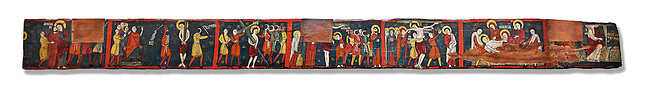 Romanesque painted Beam depicting The Passion and the Stations of the Cross<br /> <br /> Around 1192-1220, Tempera on wood from Catalonia, Spain.<br /> <br /> Acquisition of Museums Board's campaign in 1907. MNAC 15833.<br /> <br /> It is not known what was the original location of the beam, but it might have been part of the structure of a canopy. In any case, it was reused in a ceiling, as evidenced by the cuts that are at the top. It is decorated with seven scenes from the Passion and Resurrection of Christ, the whipping on the Road to Calvary, Crucifixion, Descent and Mourning of the Dead Body of Christ and the Mary discovering the empty tomb. The narrative character in the images and the predominance of yellow is typical of Catalan painting of the 1200&rsquo;s,  specifically with illustrations of Liber Feudorum Maior, a late twelfth-century illuminated cartulary book style of the Crown of Aragon