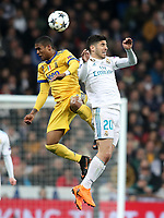 Real Madrid's Marco Asensio (r) and Juventus Football Club's Douglas Costa during Champions League Quarter-Finals 2nd leg match. April 11,2018. (ALTERPHOTOS/Acero) /NortePhoto.com
