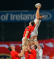 9th November 2019; Thomond Park, Limerick, Munster, Ireland; Guinness Pro 14 Rugby, Munster versus Ulster; Jordi Murphy of Ulster collects the line-out ball despite Billy Holland of Munster efforts - Editorial Use