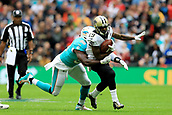 1st October 2017, Wembley Stadium, London, England; NFL International Series, Game Two; Miami Dolphins versus New Orleans Saints; Charles Harris of the Miami Dolphins tackles Josh LeRibeus of the New Orleans Saints