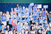 "Campaign volunteers hold up large letters spelling ""Hillary"" as former Secretary of State and Democratic presidential candidate Hillary Rodham Clinton speaks at a rally at Nashua Community College in Nashua, New Hampshire, on Tues. Feb. 2, 2016. Former president Bill Clinton also spoke at the event. The day before, Hillary Clinton won the Iowa caucus by a small margin over Bernie Sanders."