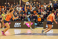 NZ Men's Cameron Powell has the ball during the Cadbury Netball Series match between NZ Men and All Stars at the Bruce Pullman Arena in Papakura, New Zealand on Friday, 28 June 2019. Photo: Dave Lintott / lintottphoto.co.nz