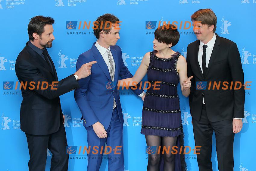 Hugh Jackman, Eddie Redmayne, Anne Hathaway, Tom Hooper.Berlin 08/02/2013. 63th Berlinale 'Les Miserables' photocall. .foto Mark Cape/Insidefoto