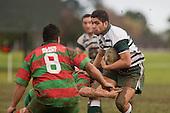R. Koroi is confronted by R. Garmonsway. Counties Manukau Premier 1 McNamara Cup round 2 rugby game between Manurewa & Waiuku played at Mountfort Park, Manurewa on the 30th of June 2007. Manurewa led 19 - 3 at halftime and went on to win 31 - 3.