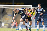 Charlie Kelman, Southend United, under pressure from Josh Falkingham, Harrogate Town,  during Southend United vs Harrogate Town, Sky Bet EFL League 2 Football at Roots Hall on 12th September 2020