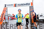 Mairead O'Keeffe from the Kanturk Road Runners takes gold for the ladies in the Valentia Half Marathon on Saturday.