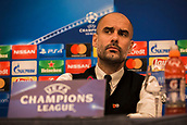 31st October 2017, San Paolo Stadium, Naples, Italy; UEFA Champions League; Pre Match Press Conference; SSC Napoli versus Manchester City; Head Coach Josep Guardiola of Manchester City reacts during the pre match press conference