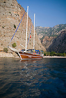 Fethiye to Kas, Turkey, October 2007. anchoring at the hippie beach of Butterfly Valley.  The Blue Cruise on a wooden sailing yacht, better known as gulet, is one of the best ways to explore the Turkish Mediterranean Coast. Photo by Frits Meyst / MeystPhoto.com