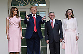 U.S. President Donald Trump and first lady Melania Trump greet King Abdullah II and Queen Rania of Jordan on their arrival at the South Portico of the White House on June 25, 2018. <br /> Credit: Olivier Douliery / Pool via CNP