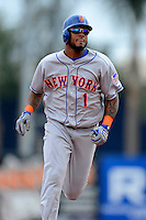 New York Mets second baseman Jordany Valdespin #1 runs the bases after hitting a home run during a Spring Training game against the Detroit Tigers at Joker Marchant Stadium on March 11, 2013 in Lakeland, Florida.  New York defeated Detroit 11-0.  (Mike Janes/Four Seam Images)