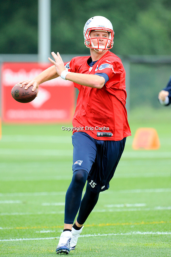 New England Patriots quarterback Ryan Mallett (15) during the New England Patriots mini camp at Gillette Stadium in Foxborough Massachusetts.   Eric Canha/CSM