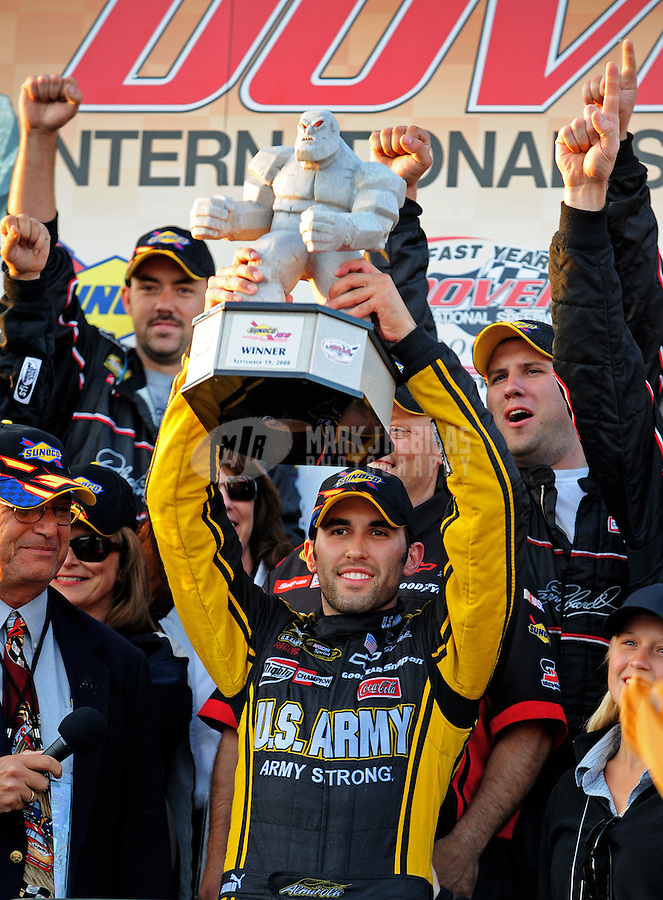 Sept 19, 2008; Dover, DE, USA; NASCAR Camping World Series East driver Aric Almirola celebrates after winning the Sunoco 150 at Dover International Speedway. Mandatory Credit: Mark J. Rebilas-