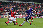 Leon Clarke of Sheffield Utd shot blocked by Andy Yiadom of Barnsley during the championship match at the Oakwell Stadium, Barnsley. Picture date 7th April 2018. Picture credit should read: Simon Bellis/Sportimage