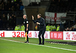 Visiting manager Nathan Jones watching the first-half action as Derby County played Stoke City in an EFL Championship match at Pride Park Stadium. Opened in 1997, it is the 16th-largest football ground in England and the 20th-largest stadium in the United Kingdom. The fixture ended in a 0-0 draw watched by a crowd of 25,685.