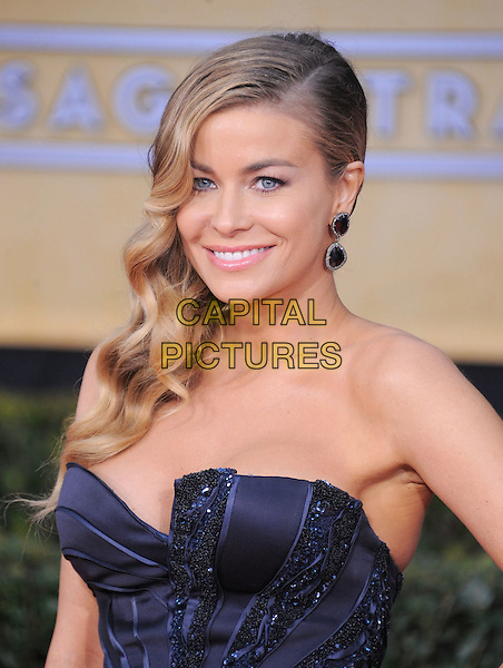 Carmen Electra.Arrivals at the 19th Annual Screen Actors Guild Awards at the Shrine Auditorium in Los Angeles, California, USA..27th January 2013.SAG SAGs headshot portrait strapless cleavage earrings black blue navy  .CAP/DVS.©DVS/Capital Pictures.