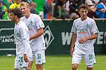 13.07.2019, Parkstadion, Zell am Ziller, AUT, FSP, Werder Bremen vs. Darmstadt 98<br /> <br /> im Bild / picture shows <br /> <br /> Benjamin Goller (Neuzugang Werder Bremen #39) LEON MÜLLER / LEON MUELLER (DARMSTADT 98 #34) auf den weg zum Tor zum 1:1<br /> <br /> Jubell <br /> mit Niklas Wiemann (Werder Bremen II #03)<br /> Simon Straudi (Werder Bremen #26)<br /> Foto © nordphoto / Kokenge