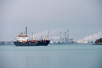 The Algonova sails past Sarnia on the St. Clair River.