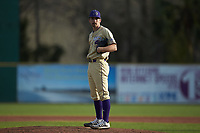 Western Carolina Catamounts starting pitcher Ryan Mitschele (3) looks to his catcher for the sign against the Saint Joseph's Hawks at TicketReturn.com Field at Pelicans Ballpark on February 23, 2020 in Myrtle Beach, South Carolina. The Hawks defeated the Catamounts 9-2. (Brian Westerholt/Four Seam Images)