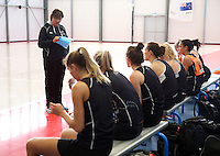 18.10.2015 The Silver Ferns coach Waimarama Taumaunu looks on during training for their upcoming netball test match against Australia in Christchurch. Mandatory Photo Credit ©Michael Bradley.