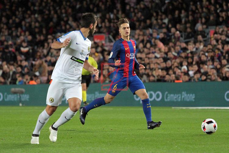 Copa del Rey 2016/2017. 1/16 Final-Vuelta.<br /> FC Barcelona vs Hercules CF: 7-0.<br /> Albert Dalmau vs Denis Suarez.