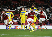 7th December 2017, Emirates Stadium, London, England; UEFA Europa League football, Arsenal versus BATE Borisov; Olivier Giroud of Arsenal shoots to score his sides 5th goal from a penalty during the 2nd half to make it 5-0