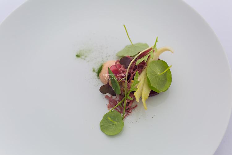 Castagna Restaurant, Portland, Oregon, Roasted beets, sauce Maltaise, nasturtium and cured beef
