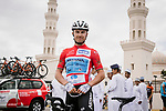 Race leader Alexey Lutsenko (KAZ) Astana Pro Team before the start of Stage 5 of the 10th Tour of Oman 2019, running 152km from Samayil to Jabal Al Akhdhar (Green Mountain), Oman. 20th February 2019.<br /> Picture: ASO/P. Ballet | Cyclefile<br /> All photos usage must carry mandatory copyright credit (© Cyclefile | ASO/P. Ballet)