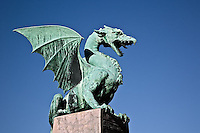 Dragon statue of sheet copper on the Dragon Bridge, Ljubljana, Slovenia, Art Nouveau style, Jurij Zaninovic the architect.