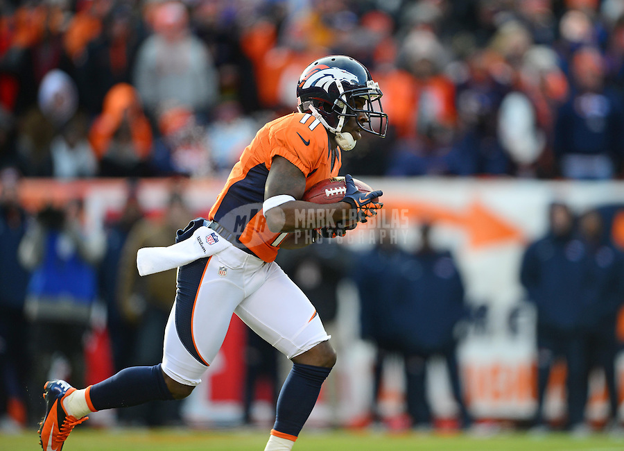 Jan 12, 2013; Denver, CO, USA; Denver Broncos wide receiver Trindon Holliday (11) against the Baltimore Ravens during the AFC divisional round playoff game at Sports Authority Field.  Mandatory Credit: Mark J. Rebilas-
