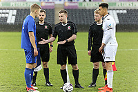 Pictured: Ben Cabango of Swansea (R).  Tuesday 01 May 2018<br /> Re: Swansea U19 v Cardiff U19 FAW Youth Cup Final at the Liberty Stadium, Swansea, Wales, UK