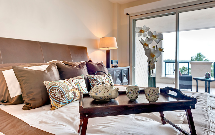 Modern bedroom in apartmen  furnished with breakfast tray