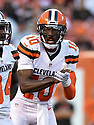 CLEVELAND, OH - AUGUST 18, 2016: Quarterback Robert Griffin III #10 of the Cleveland Browns makes a call at the line of scrimmage in the first quarter of a preseason game on August 18, 2016 against the Atlanta Falcons at FirstEnergy Stadium in Cleveland, Ohio. Atlanta won 24-13. (Photo by: 2016 Nick Cammett/Diamond Images) *** Local Caption *** Robert Griffin III