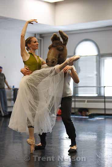 "Rehearsals for Ballet West's ""The Dream."" Sara Webb plays Titania and John Frazer as Bottom. Thursday, October 15 2009 in Salt Lake City."