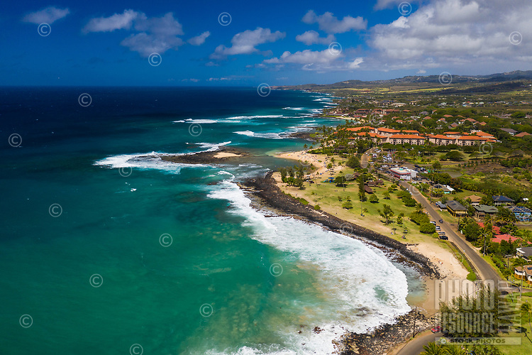 An aerial view of Po'ipu Beach Park, Koloa district of Kaua'i.
