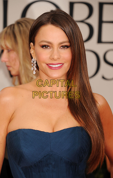 Sofia Vergara.Arrivals at the 69th Annual Golden Globe Awards at The Beverly Hilton Hotel, Beverly Hills, California, USA..January 15th, 2012.globes headshot portrait blue strapless cleavage dangling silver earrings.CAP/GDG.©GDG/Capital Pictures