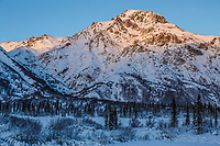 Winter landscape of Sheep Mountain, part of the Talkeetna Mountains in the Glacier View Area of the Matanuska River Valley in Southcentral, Alaska   January 2016
