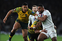 Israel Folau of Australia hunts down Joe Cokanasiga of England during the Quilter International match between England and Australia at Twickenham Stadium on Saturday 24th November 2018 (Photo by Rob Munro/Stewart Communications)