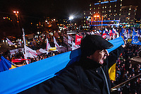 "Protestors with demands of European values in Ukraine. Square of Independence or ""Maidan Nezalezhnosti"". Kiev. Ukraine. Thousands of people are continuing to express their support to european integration and protesting against decision of Ukrainian government to refuse signing of association with EU in Vilnius."
