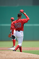 GCL Red Sox starting pitcher Jose Gonzalez (59) walks off the back of the mound during a game against the GCL Rays on August 1, 2018 at JetBlue Park in Fort Myers, Florida.  GCL Red Sox defeated GCL Rays 5-1 in a rain shortened game.  (Mike Janes/Four Seam Images)