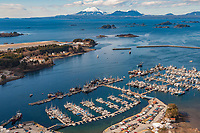 New Thomsen Harbor, inactive volcano Mt. Edgecumbe on the horizon, Southeast, Alaska.