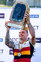 Waikato captain Zac Guildford holds the cup final trophy aloft at the end of day two of the 2018 Bayleys National Sevens at Rotorua International Stadium in Rotorua, New Zealand on Sunday, 14 January 2018. Photo: Dave Lintott / lintottphoto.co.nz