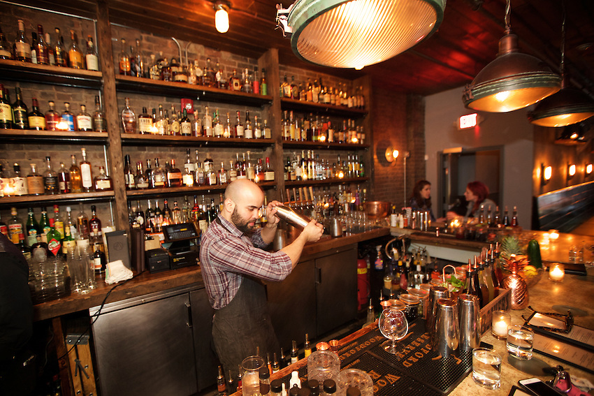 Jersey City, NJ - April 27, 2016: Making cocktails at The Archer, a cocktail bar serving a menu of game meat-centered dishes on Newark Avenue in Jersey City.<br /> <br /> CREDIT: Clay Williams for Gothamist<br /> <br /> &copy; Clay Williams / claywilliamsphoto.com