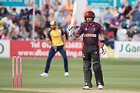 Babar Azam of Somerset CCC acknowledges his half century during Essex Eagles vs Somerset, Vitality Blast T20 Cricket at The Cloudfm County Ground on 7th August 2019