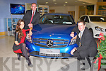 A CLASS: Miss Universe Ireland 2011 Aoife Hannon and Kerry footballer Eoin Brosnan launching the all new Mercedes A Class at McElligott's dealership, Oakpark, Tralee on Friday front l-r: Aoife Hannon and Eoin Brosnan. Back Donal Lynch (sales manager).
