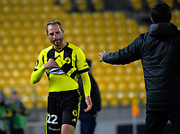 Wellington's Andrew Durante is subbed off during the A-League football match between Wellington Phoenix and Central Coast Mariners at Westpac Stadium in Wellington, New Zealand on Saturday, 25 November 2017. Photo: Dave Lintott / lintottphoto.co.nz